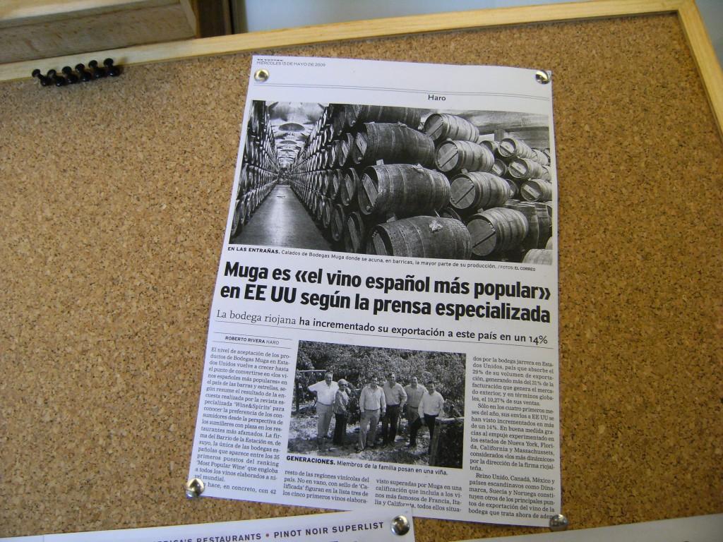 Recorte de prensa sobre Muga, el más popular en USA