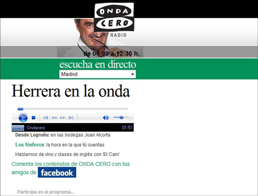 Herrera en la Onda en las Bodegas Juan Alcorta
